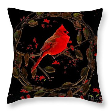 Cardinal On Metal Wreath Throw Pillow by Janette Boyd