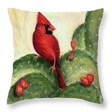 Throw Pillow featuring the painting Cardinal On Prickly Pear Cactus by Judy Filarecki