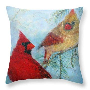 Cardinal Pair Throw Pillow by Loretta Luglio