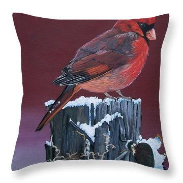 Throw Pillow featuring the painting Cardinal Winter Songbird by Sharon Duguay