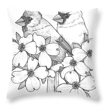 Cardinals And Dogwoods Throw Pillow