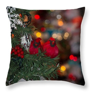 Throw Pillow featuring the photograph Cardinals At Christmas by Patricia Babbitt