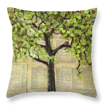 Cardinals In A Tree Throw Pillow