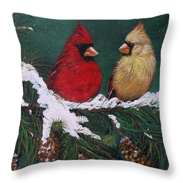 Cardinals In The Snow Throw Pillow by Sharon Duguay