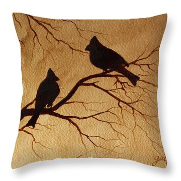 Cardinals Silhouettes Coffee Painting Throw Pillow
