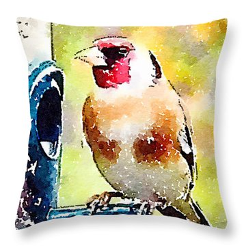 Carduelis Carduelis 'waterfinch' Throw Pillow