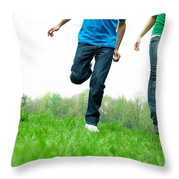 Carefree Friends Throw Pillow by Michal Bednarek