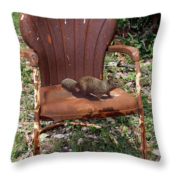 Throw Pillow featuring the photograph Careful Where You Sit by Doug Kreuger