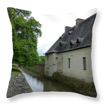 Caretaker Cottage On The Canal At Chenonceau Throw Pillow by Susan Alvaro