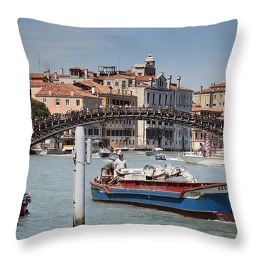 Throw Pillow featuring the photograph Cargo Boat by Uri Baruch