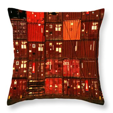 Cargo Containers Port Of Seattle Throw Pillow