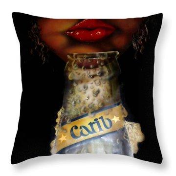 Carib Beer Throw Pillow