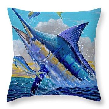 Carib Blue Throw Pillow by Carey Chen