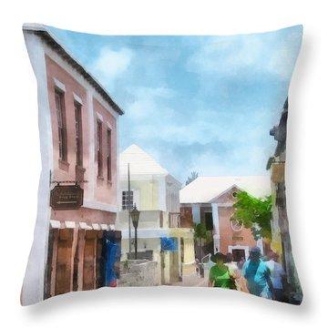 Caribbean - A Street In St. George's Bermuda Throw Pillow by Susan Savad