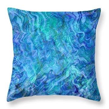 Caribbean Blue Abstract Throw Pillow by Carol Groenen