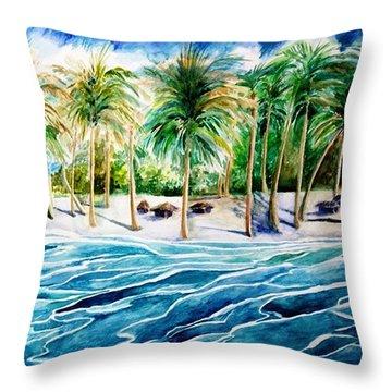 Caribbean Harbor Throw Pillow