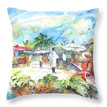 Caribbean Market Throw Pillow