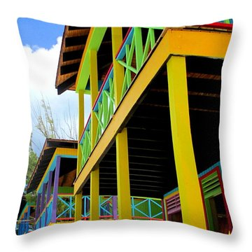 Caribbean Porches Throw Pillow by Randall Weidner