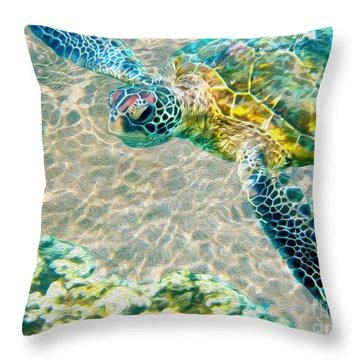 Beautiful Sea Turtle Throw Pillow