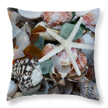 Caribbean Shells Throw Pillow