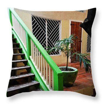 Caribbean Stairway Throw Pillow by Gary Wonning