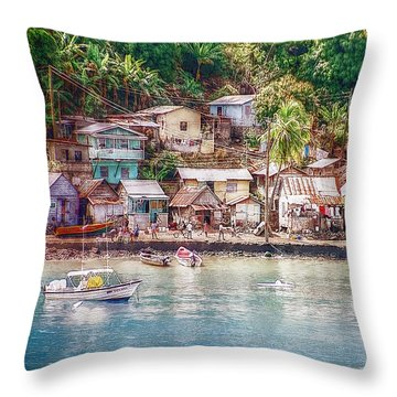 Throw Pillow featuring the photograph Caribbean Village by Hanny Heim