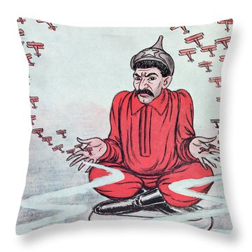 Caricature Of Stalin Throw Pillow by Adrien Barrere