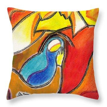 Caring Throw Pillow by Leon Zernitsky