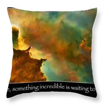 Carl Sagan Quote And Carina Nebula 3 Throw Pillow by Jennifer Rondinelli Reilly - Fine Art Photography