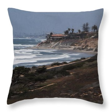 Throw Pillow featuring the photograph Carlsbad .. Lone Surfer  ... by Chuck Caramella