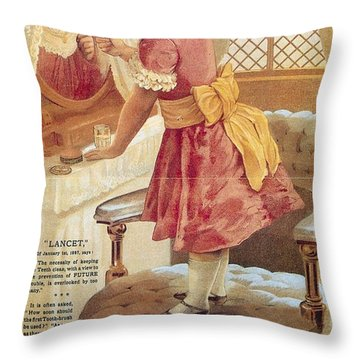 Throw Pillow featuring the photograph Carlvert's Carbolic Tooth Powder Ad by Gianfranco Weiss