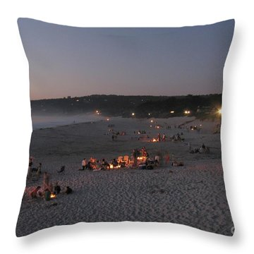 Carmel Beach Bonfires Throw Pillow