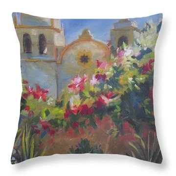 Carmel Mission Throw Pillow by Mary Hubley