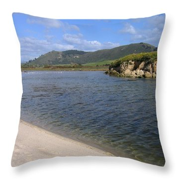 Carmel River Lagoon Throw Pillow