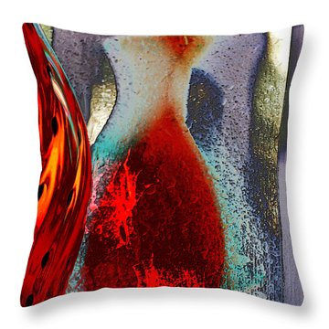 Throw Pillow featuring the photograph Carmellas Red Vase 1 by Kate Word