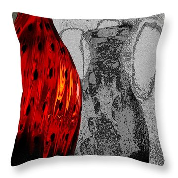 Throw Pillow featuring the photograph Carmellas Red Vase 2 by Kate Word