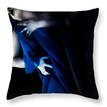 Carnal Blue Throw Pillow by Jessica Shelton