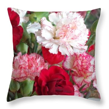 Carnation Cluster Throw Pillow