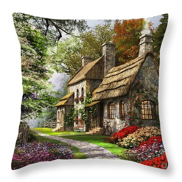 Carnation Cottage Throw Pillow by Dominic Davison