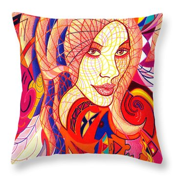 Carnival Girl Throw Pillow by Danielle R T Haney