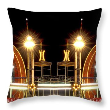 Carnival Light Patterns At Night Throw Pillow