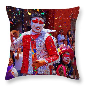 Throw Pillow featuring the photograph Carnival Man At The Day Of The Crazies Parade by John  Kolenberg