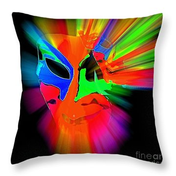 Carnival Mask In Abstract Throw Pillow