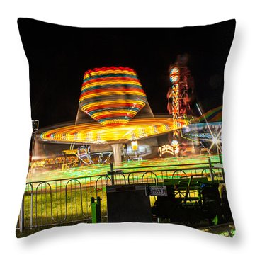 Throw Pillow featuring the photograph Carnival Night Blue by Dawn Romine