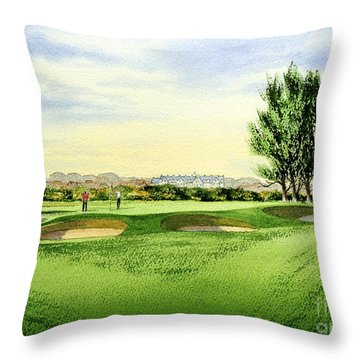 Carnoustie Golf Course 13th Green Throw Pillow by Bill Holkham