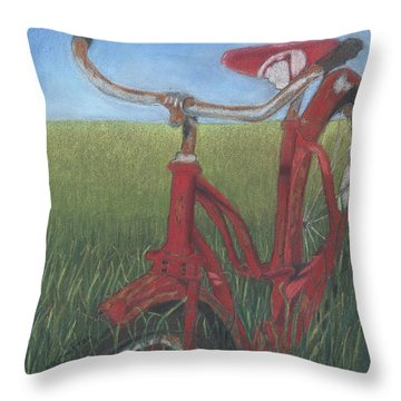 Carole's Bike Throw Pillow by Arlene Crafton