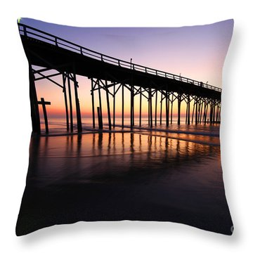 North Carolina Beach Pier - Sunrise Throw Pillow