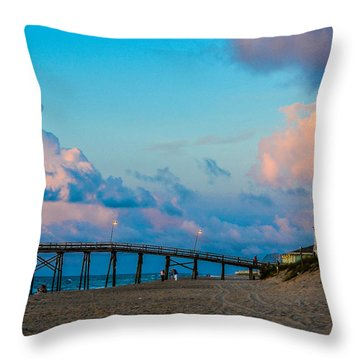 Carolina Blue Over Kure Beach Throw Pillow