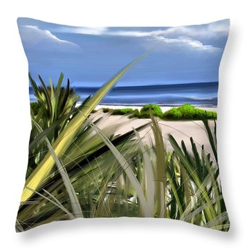 Throw Pillow featuring the digital art Carolina Dunes by Anthony Fishburne