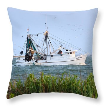 Carolina Girls Shrimp Boat Throw Pillow by Patricia Schaefer